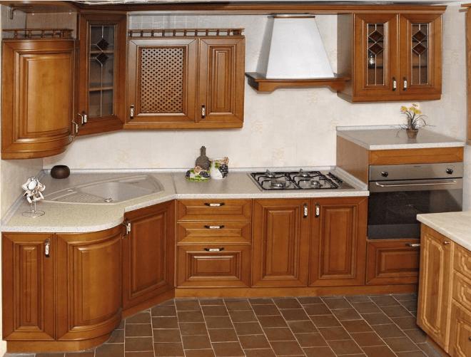 117 Классическая уловая кухня с каменной угловой мойкой