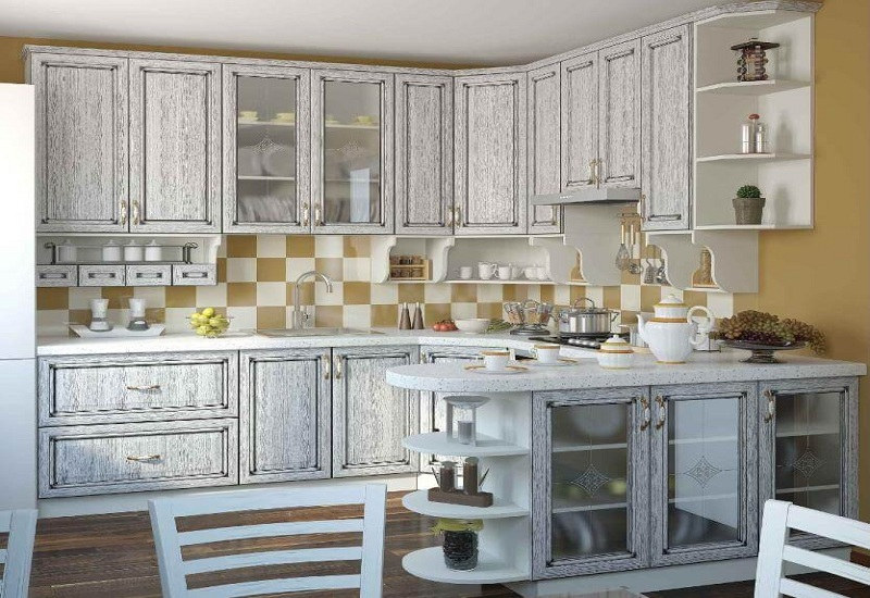Кухни с фасадами МДФ шпонированный